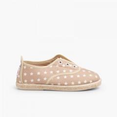 Zapatillas con Estrellas sin Cordones Beige