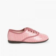 Zapatos Blucher Mujer y Niña Coco Rosa