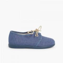 Zapatos Blucher Niños Lona Azul