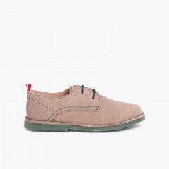 Zapatos Blucher Serraje Suela y Cordones Colores Beige