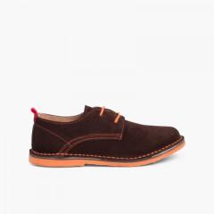 Zapatos Blucher Serraje Suela y Cordones Colores Marrón