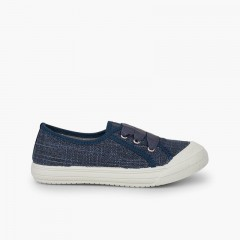 Zapatillas lino purpurina niña Azul Marino