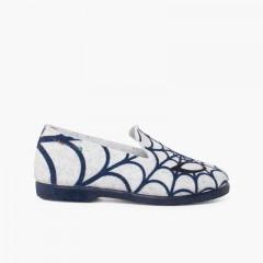 Zapatillas bajas andar por casa tela araña Gris y Azul