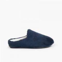 Zapatillas Casa Pelo Suave Azul Marino