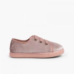 Zapatillas niña terciopelo brillante  Rosa