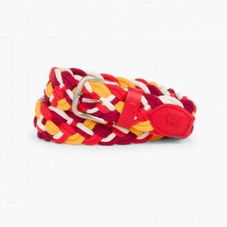 Cinturón Trenzado Multicolor Niños Burdeos/Rojo