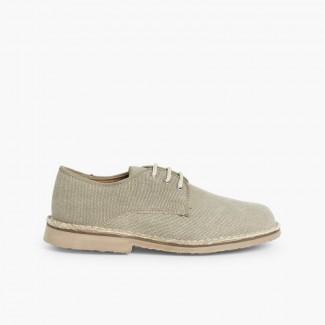 Zapatos Blucher Niño & Hombre Tejido Canvas Tostado