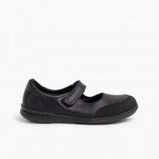 Zapatos Colegiales Niña Merceditas Puntera Reforzada  Negro