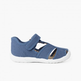 Pepito sandalia tira adherente    niño puntera reforzada Azul Jeans