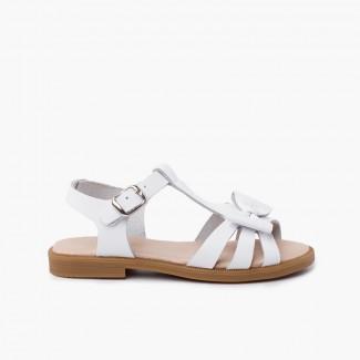 Sandalia piel niña lazo cierre hebilla Blanco