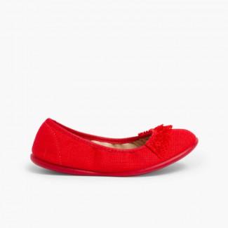 Bailarina Lino con Puntilla Rojo