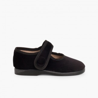 Merceditas de Terciopelo con Botón Velcro para Niñas Negro