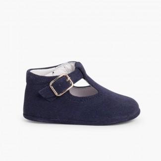 Pepitos Zapatos Bebé Serraje Hebilla Azul Marino