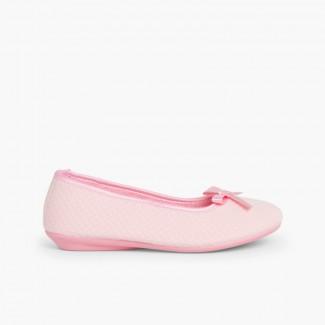 Zapatillas Casa Bailarina con Lazo  Rosa