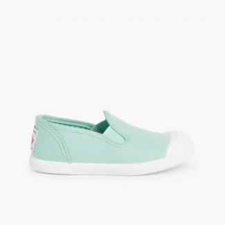 Zapatillas Lona sin Cordones con Elásticos Laterales Verde Menta