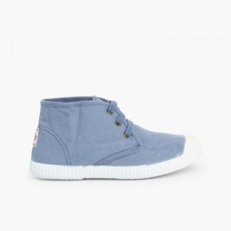 Zapatillas Lona tipo Bota con Cordones Azul