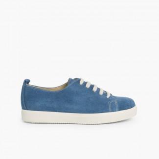 Zapatillas Serraje Cordones Azul Jeans