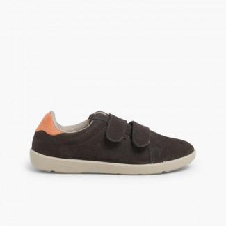Zapatillas deportivas serraje y velcro niños  Antracita y Naranja
