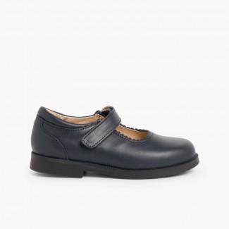 Zapato Colegial Merceditas Niña Velcro Azul Marino