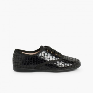 Zapatos Blucher Mujer y Niña Coco Negro