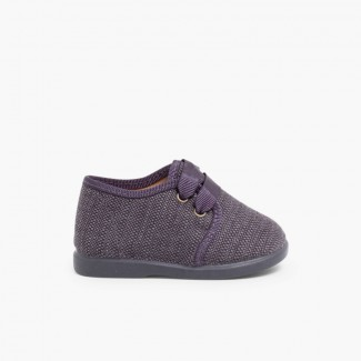 Zapatos de Tela Tipo Blucher Niño Gris