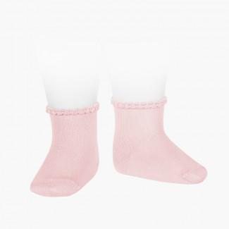Calcetines Bebé Puño Labrado Rosa