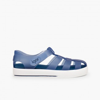 Cangrejeras con Velcro Tipo Tenis Azul Marino
