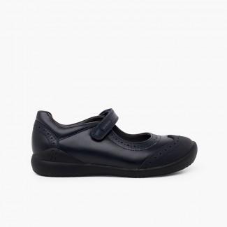 Zapatos colegiales Biomecanics Niña con picado Azul Marino