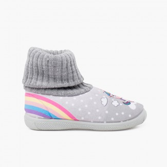 Zapatillas casa cuello calcetín lana unicornio Gris