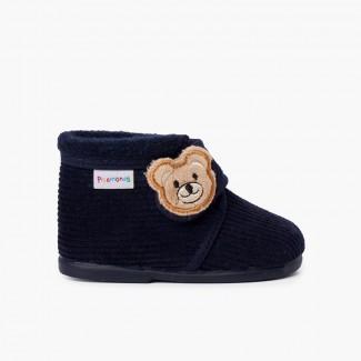 Zapatillas casa botita pana oso niños Azul Marino