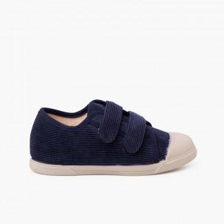 Zapatillas pana puntera goma y doble cierre Azul Marino