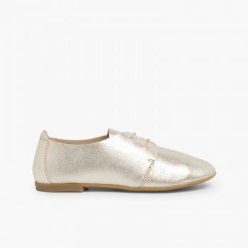 2bd1e5d1 Blucher Niña Piel Metalizada | Zapatos Oxford Mujer