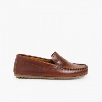85600e97a Mocasines Niño Cuero Antifaz. Zapatos baratos Niños
