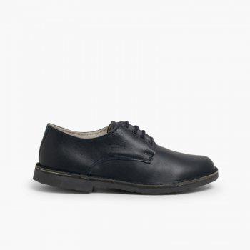 de9d3e2b9401c Zapatos Oxford Ni ntilde o Piel Azul ...