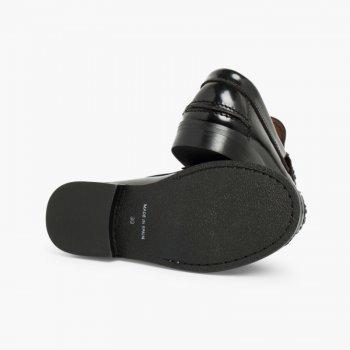 233d7d35 ... Zapatos castellanos Mocasines de piel para Niño Negro ...