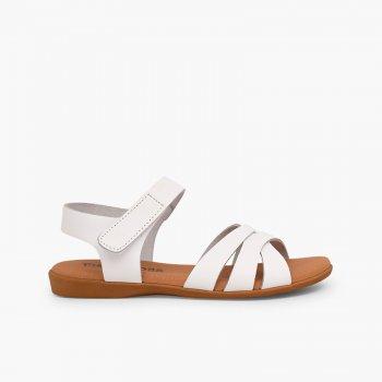 a8875a5f8 Sandalia Niña Piel Tiras Cruzadas Cierre Velcro