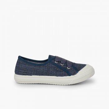 e1684dd22f2 Zapatillas purpurina   Calzado infantil de lino