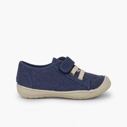 Zapatillas niños cierre tira adherente    y cordón elastico Azul Jeans