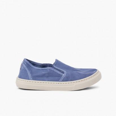 Zapatillas lona lavada elástico lateral Azul