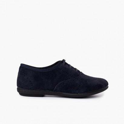 Zapatos Blucher Niña y Mujer Serraje Azul Marino