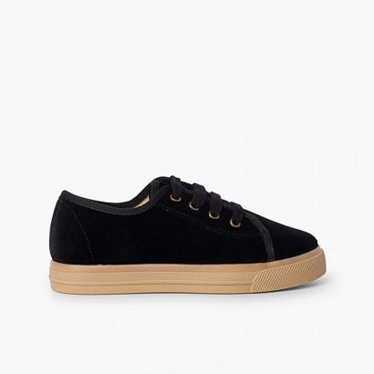 Zapatillas terciopelo cordones suela ancha niños  Negro