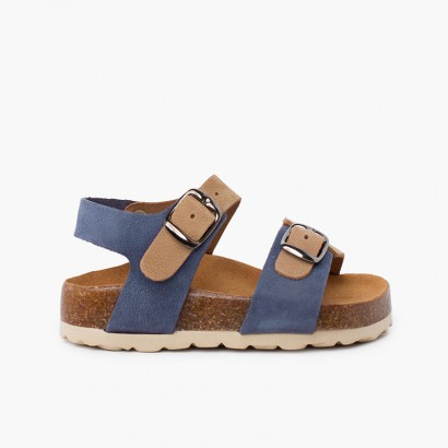Sandalias bio niños bicolor doble hebilla  Azul Jeans y Beige