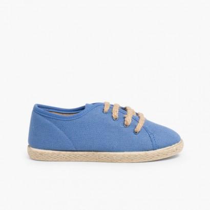 Alpargatas con Cordones tipo Zapatillas Azul