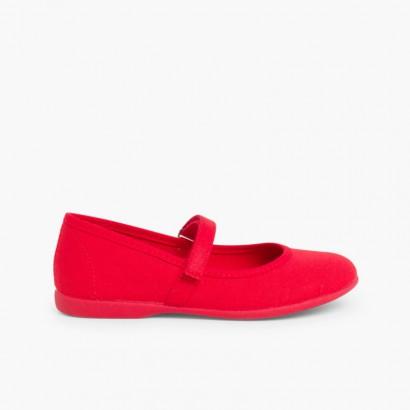 Merceditas Niña Tela Velcro fino Rojo