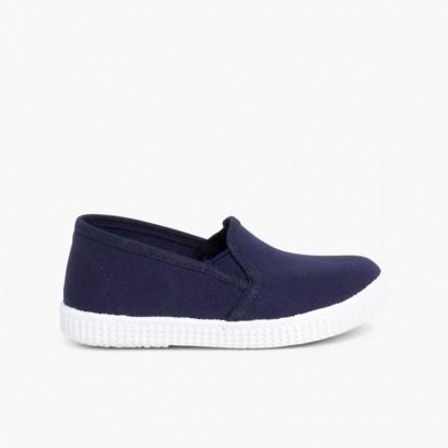 Zapatillas Lona con Elastico y Suela de Goma Azul Marino