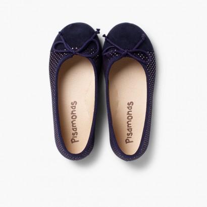 Bailarinas combinadas serratex y puntitos brillantes  Azul Marino