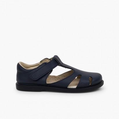 Sandalias niño piel velcro tipo pepitos Azul Marino