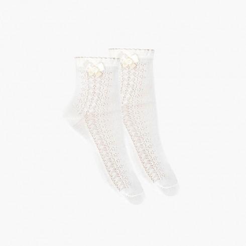 Calcetines de vestir calados con lazo Blanco