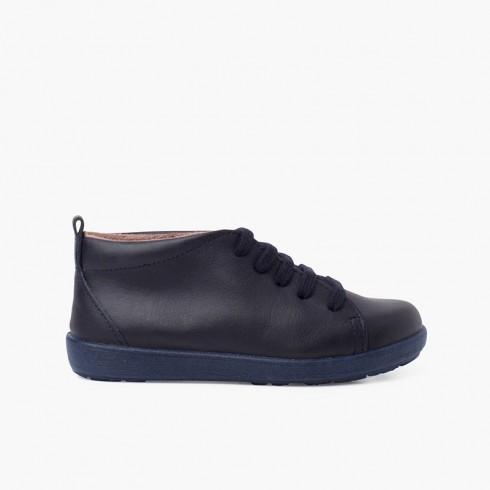 Zapatos Piel Tipo Botines Pisacacas Azul Marino