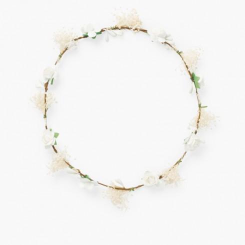 Corona sencilla flores y gypsophila Blanco